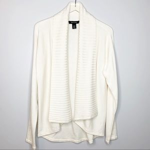 WHBM CREAM LONG OPEN SHAWL COLLAR CARDIGAN LARGE